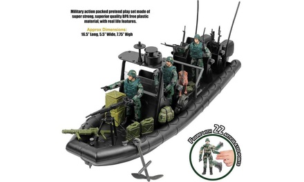 Click N Play Military Special Operations Dinghy Boat 26 Piece Play Set