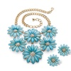DISC- Blue Lucite and Crystal Daisy Necklace and Earrings Set in Gold Tone