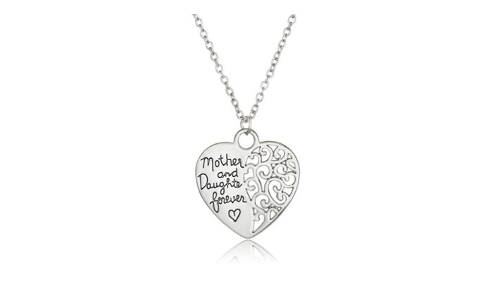 Mother and daughter forever silver color lover heart pendant mother and daughter forever silver color lover heart pendant necklace mozeypictures Image collections