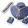 Rose Gold Color Crystal Necklace Earring Bracelet Ring Set