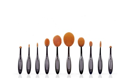 2017 New Professional 10 Pcs Soft Oval Toothbrush Makeup Brush Set 19cf1349-7484-45c5-adfb-c076c5ab7f63