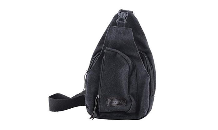 Men's Small Canvas Military Shoulder Travel Hiking Bag Backpack