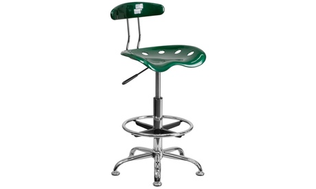 Vibrant Chrome Drafting Stool with Tractor Seat 73a8fc16-0df4-4bde-b5fd-d69a5775b3a0