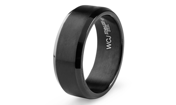 Groupon Goods: Men's Black Plated Stainless Steel Satin and High Polished Ring