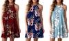 Women Sleeveless Halter Neck Boho Print Mini Beachwear Casual T Shirt Dress