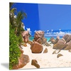 Rocky Tropical Beach Panorama Landscape Metal Wall Art 28x12