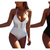 Women Sexy V Neck Halter Swimsuit Hollow One Piece Bodysuit Beachwear