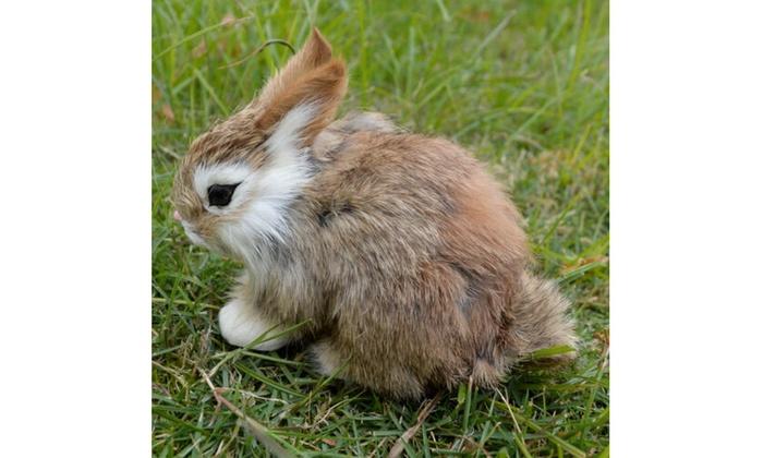 Realistic Artificial Rabbit Lifelike Easter Bunny Furry Animal Spring Figurine K