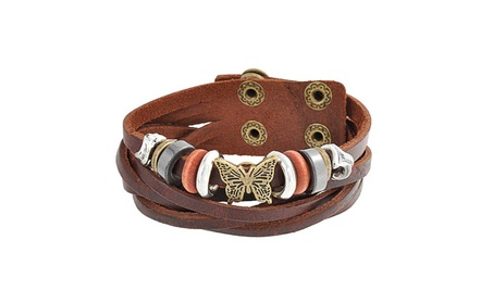Bling Jewelry Butterfly Hematite Leather Bracelet Gold Plated 6772c7a3-b196-4a5e-b9f8-8b36753cf664