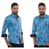 """Far Out"" Blue Men's Button Down Shirt"