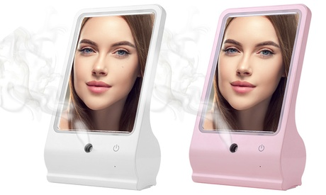 Women's Beauty Makeup LED Vanity Mirror with Facial Steamer