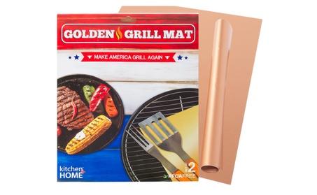 Golden Grill Mat - Set Of 2 Copper Grill Mats - Nonstick, Heavy Duty
