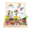 Wooden Magnetic Board Puzzle Farm Double Face Drawing Education Toys