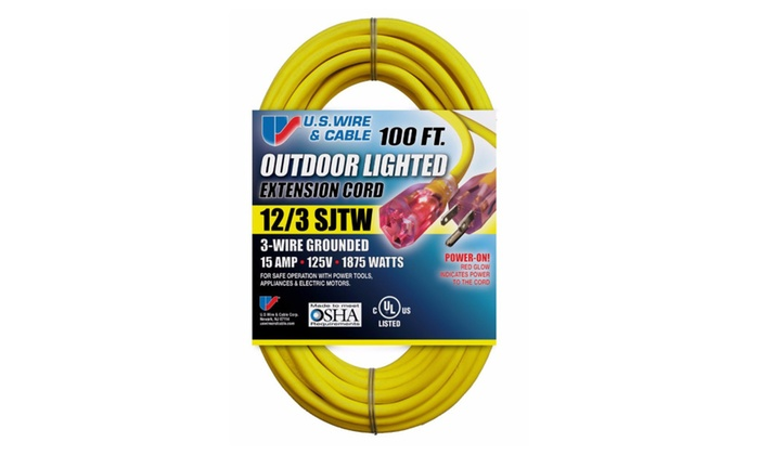 US Wire 12/3 100-Feet SJTW HeavyDuty Lighted Plug Extension Cord