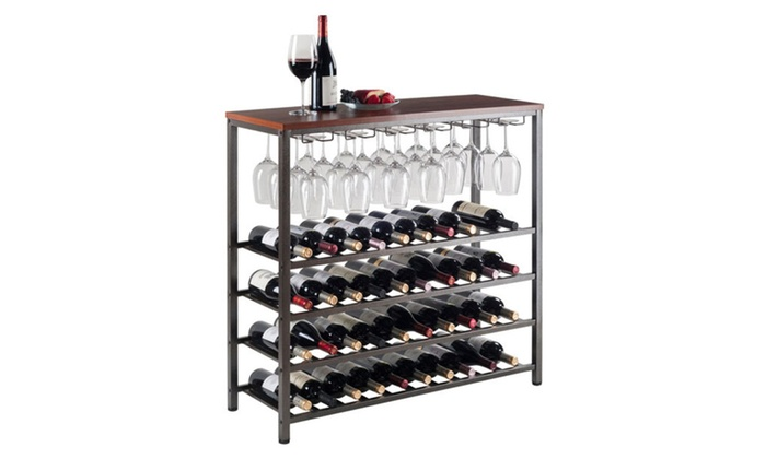 Winsome Michelle Wine Rack With Glass Hanger Groupon