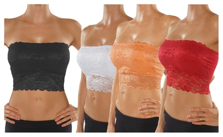 Women's Floral Lace Bandeau Bra With Removable Padded Cups ba410b17-6147-4829-8eb7-7071769ba8c2
