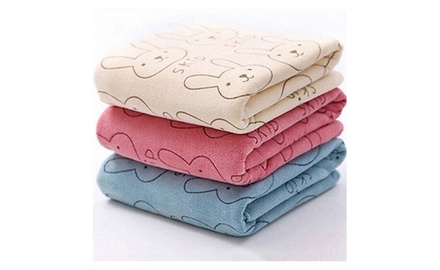 cute baby infant rabbit cartoon soft bath towel groupon. Black Bedroom Furniture Sets. Home Design Ideas