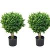 """Set of 2 24"""" Pure Garden Hedyotis Artificial Tree Topiary In/Out Door"""