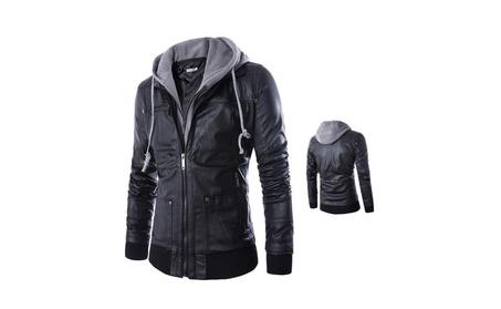 Men's Hooded Slim Fit Vintage Faux Leather Jacket a3fb13b7-6ce6-4c18-8fed-6b60af7a5035