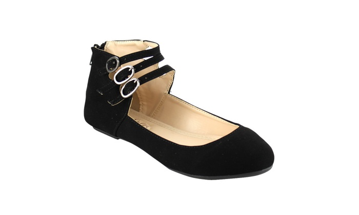 BAMBOO REVERSAL-12 Women's Flats With Triple Ankle Straps