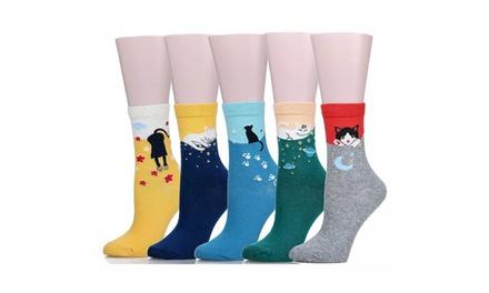 5 Pairs Cute Cat Design Casual Comfortable Cotton Crew Socks For Women