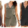 Beach Sleeveless Jumpsuit Loose V Neck With Front Zipper Rompers