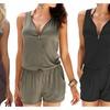 Women Loose V Neck Front Zipper Sleeveless Jumpsuit with Pocket Romper