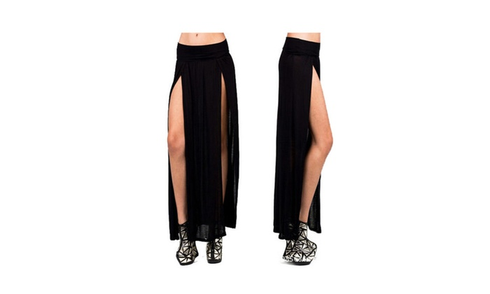 Women's High Waist Double Slit Maxi Skirt