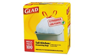 Clorox 78526 Tall-kitchen Drawstring Bags, 24 X 27.38, 13gal, .95mil,