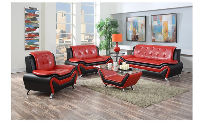 Wanda Modern Contemporary Bonded Leather 3 Pc Two Tone Sofa And Ottoma