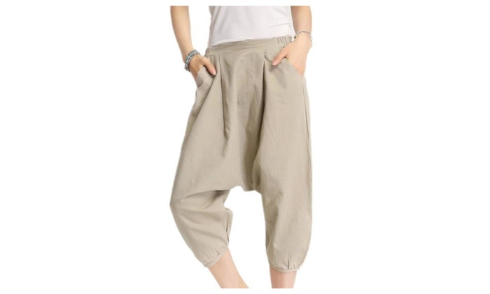 Women's Loose Solid Casual Mid-Rise PullOnStyle Pants