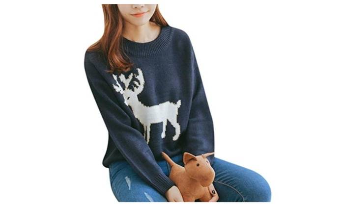 Womens Cute Christmas Deer Blue Crewneck Cable Knit Pullover Sweater