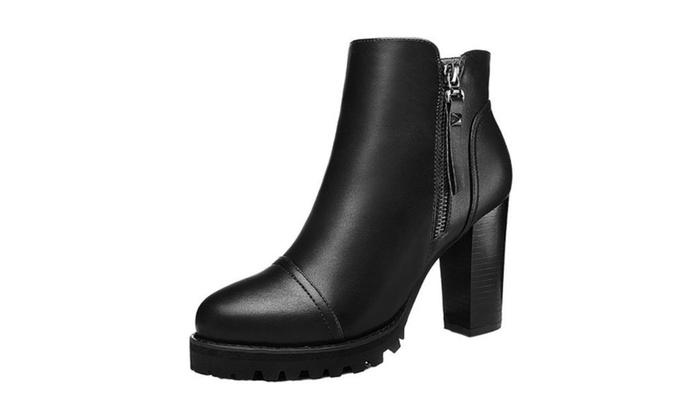Women's PU Zip Zipper Solid Fashion Boots