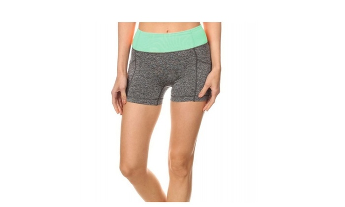 Mint and Charcoal Active Shorts with Phone Pocket