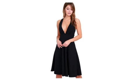 Women Deep V Neck Sleeveless Zipper Back Dress 6ae6fba2-ce0f-45d7-8d6e-bb5bfbfb86ef