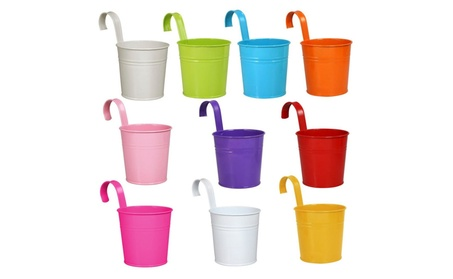 Topeakmart 10x Metal Iron Flower Pots Balcony Hang Garden Plant Home 936637b6-b359-4f61-9034-2dae3f8046de