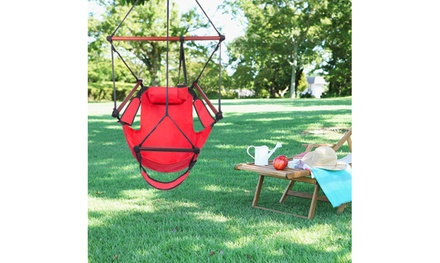 Patio 250lb Hanging Swing Chair Hammock w/pillows &Cup holder 3 Colors