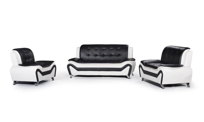 3 Piece Modern Bonded Leather Sofa Set