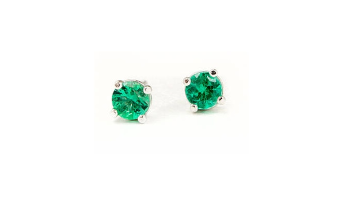 b11f065f4d7d2 14k White Gold 3 MM Round Natural Emerald Gemstone Stud Earrings