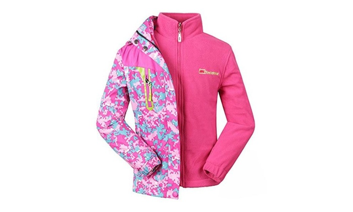 c61aaa38b Girls 3-in-1 Jacket with Fleece Liner Outdoor Winter Outerwear Pink ...