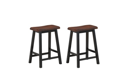 Costway Set of 2 Bar Stools 24''H Saddle Seat Pub Chair Home Kitchen Dining Room