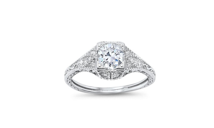 a15a36ca3f11 Antique Style Art Deco Engagement Solitaire .925 Sterling Silver ...