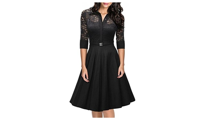 Women's 1950s Vintage 3/4 Sleeve Lace Cocktail Party Flare A-Line Dres