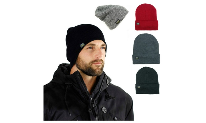 Mens Insulated Thermal Fleece Lined Comfort Winter Hat & Beanies