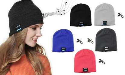 590df01668e Shop Groupon Wireless Bluetooth Beanie Knit Hat Headset Earphone Music  Speaker Cap