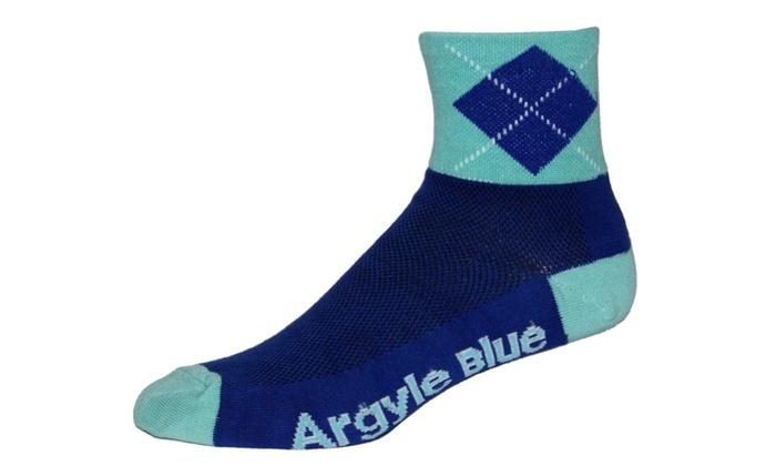 Blue Argyle Socks - Cycling and Running Socks