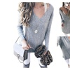 Womens Loose V-Neck Pullover Sweater Long Sleeves  Tops  T-Shirt