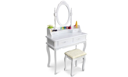 Rotation Removable Mirror Dressing Vanity Table Makeup Desk White