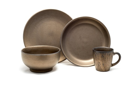 Tablescapes Teton 16 Piece Dinnerware Set, Rubbed Gold