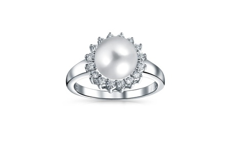 Bling Jewelry Freshwater Cultured Pearl Bridal CZ Halo Ring 9f962218-623a-42f2-811d-45381d49a4e9